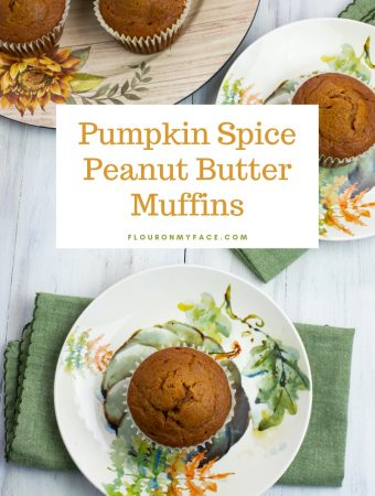 featured overhead photo of jumbo Pumpkin Spice Peanut Butter Muffin recipe