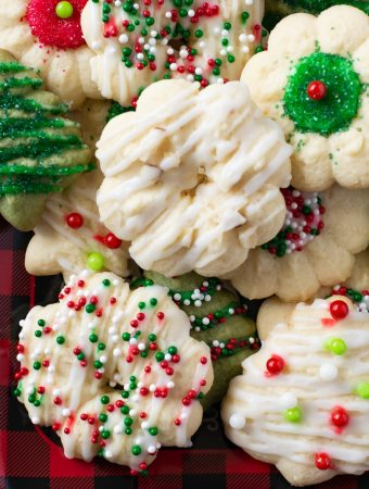 A plate of decorated Almond Spritz Cookies