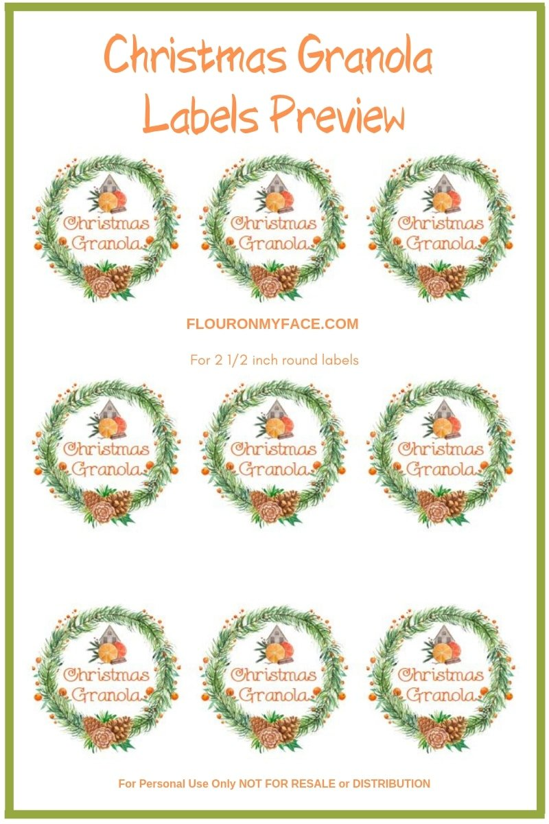 Preview of Christmas Granola Orange Pinecone Label