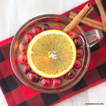 Crock Pot Christmas Wassail Recipe served in mug with whole cranberries, orange slice and cinnamon stick