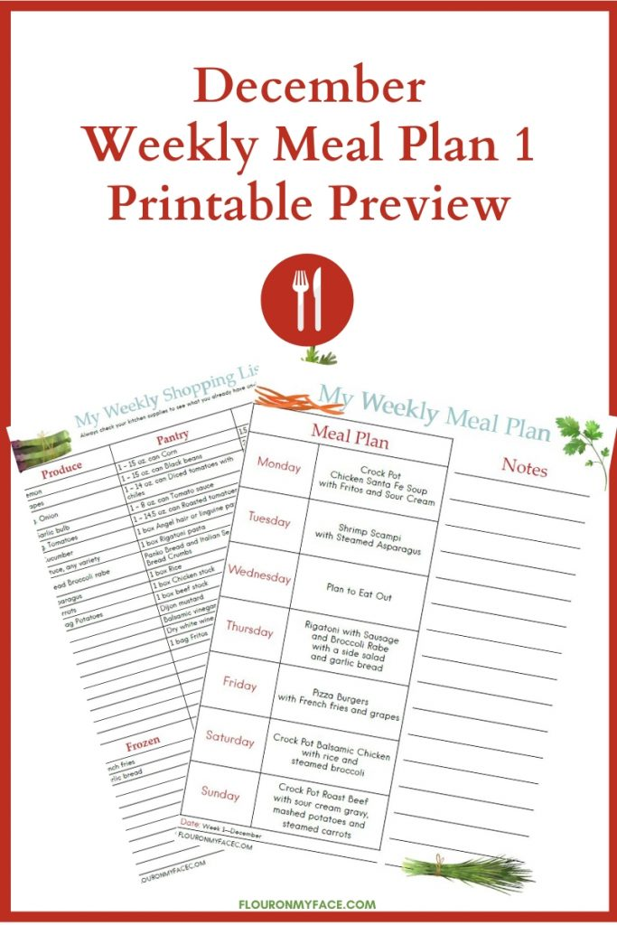 Preview of the December Meal Plan Week 1