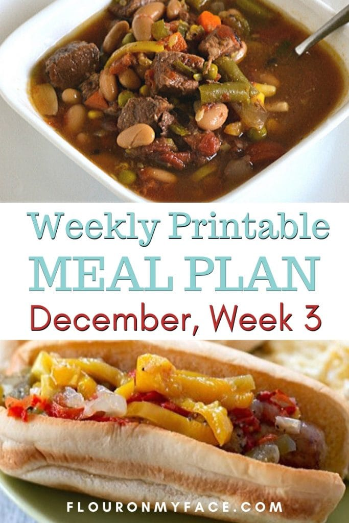 preview image of Decembers week 3 menu plan