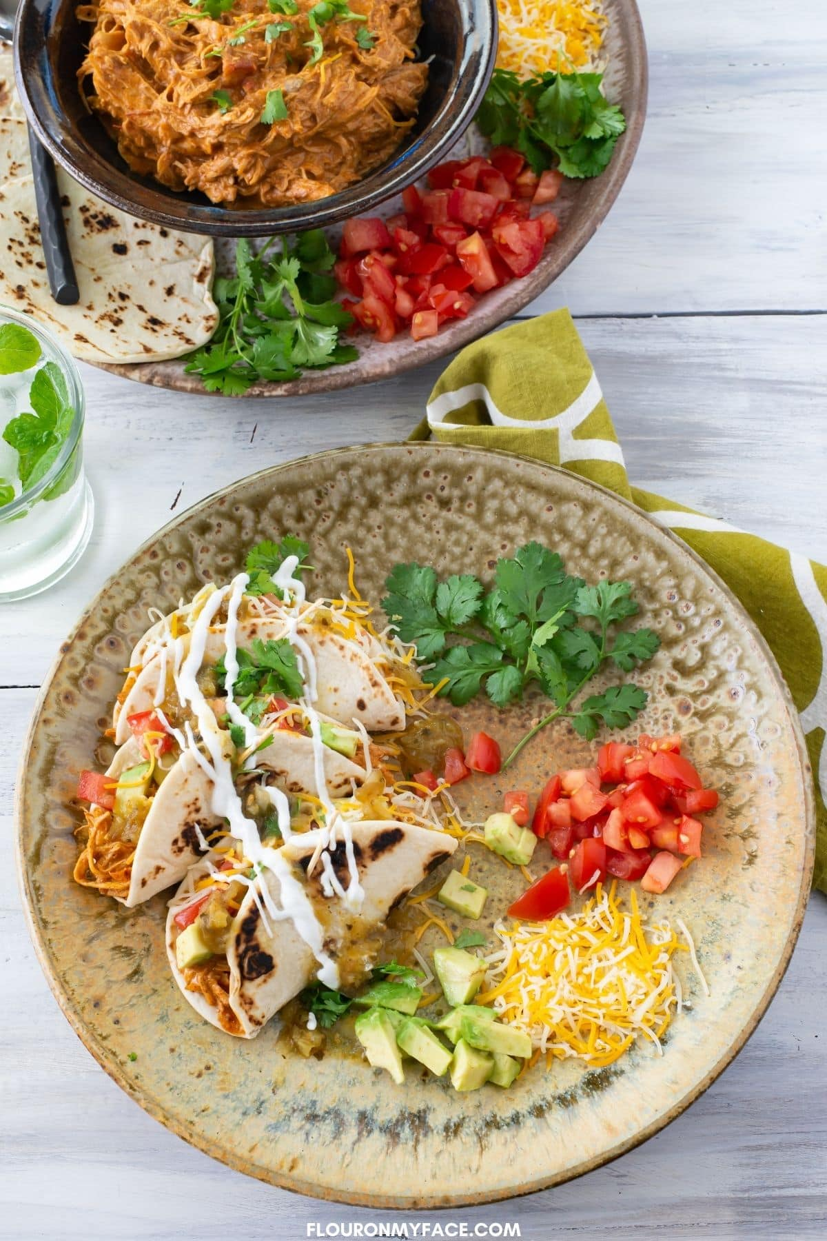 Instant Pot Creamy Chicken Tacos recipe made with taco seasoning and creamy cheese.