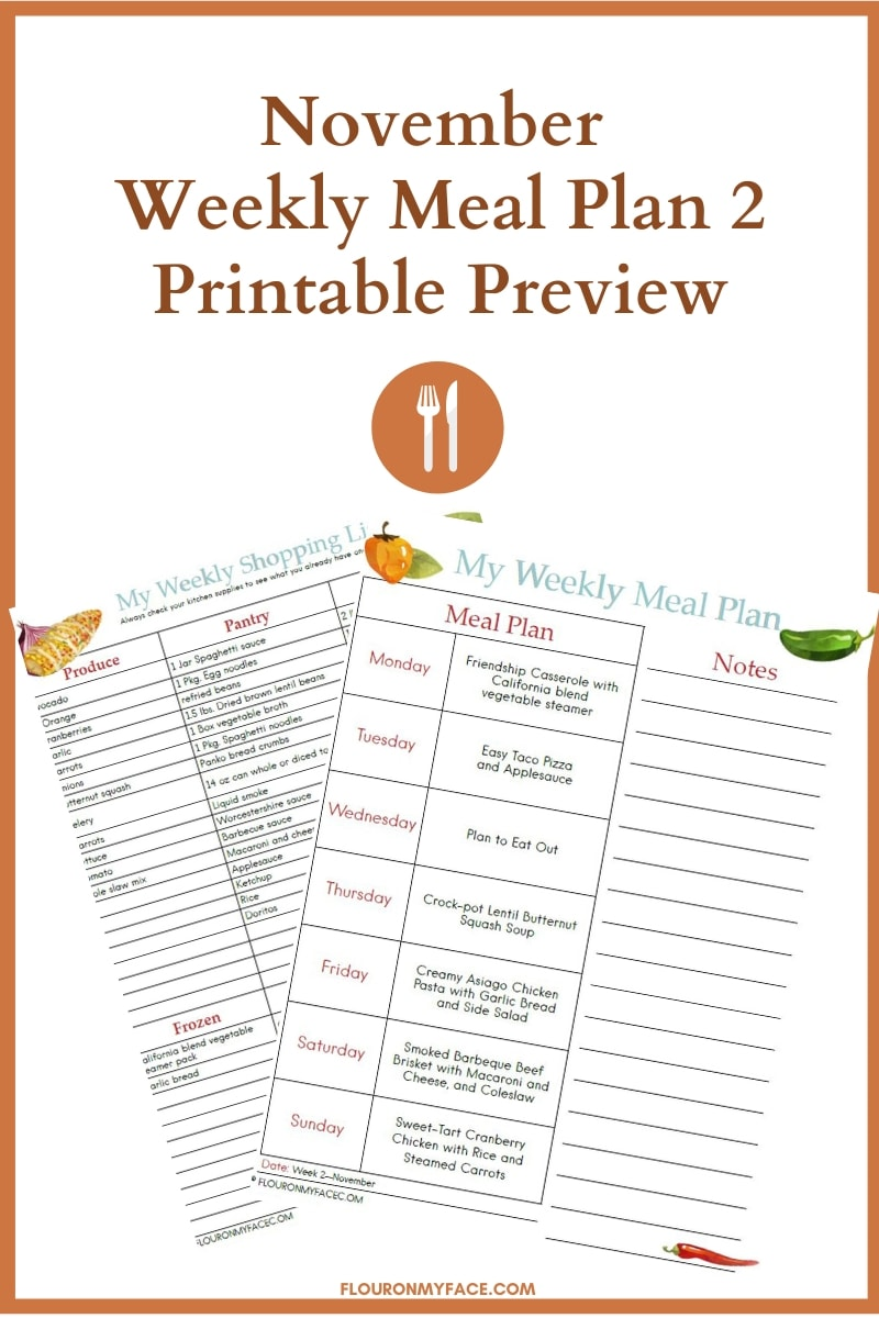 November Weekly Meal Plan 2 Printable Preview