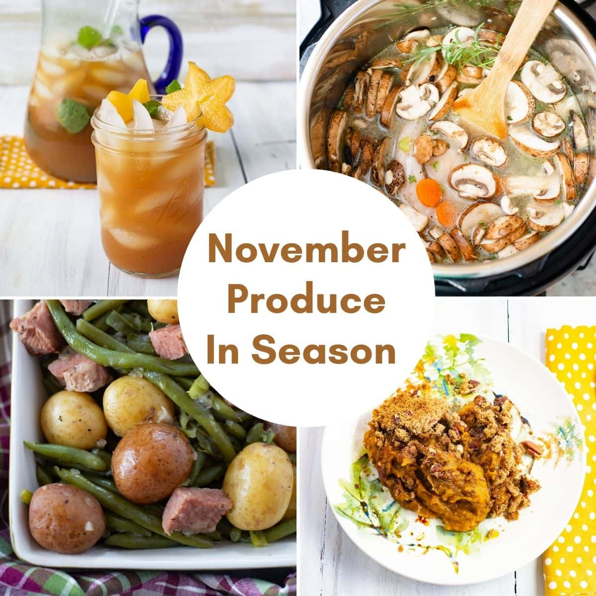 Collage image of four examples of recipes made with fresh November Produce