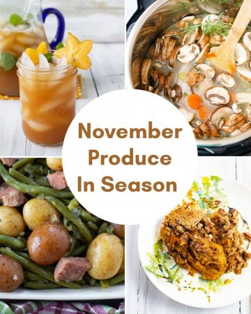 collage photo showing 4 recipes using fresh November produce
