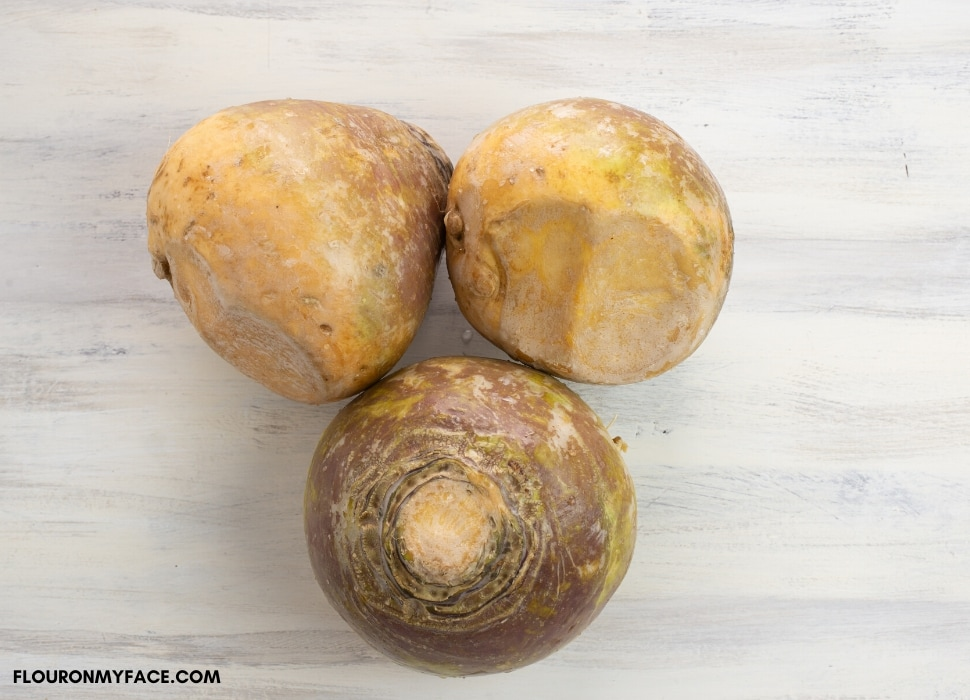 3 whole unpeeled fresh rutabagas