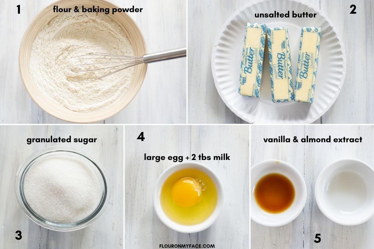 Almond Spritz Cookie dough ingredients in bowls.