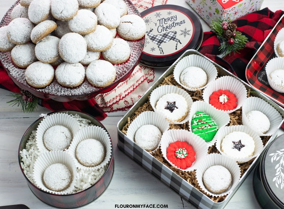 Cookie tins filled with a variety of Christmas Cookies