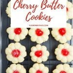 Cherry Butter Cookies on a cookie sheet.
