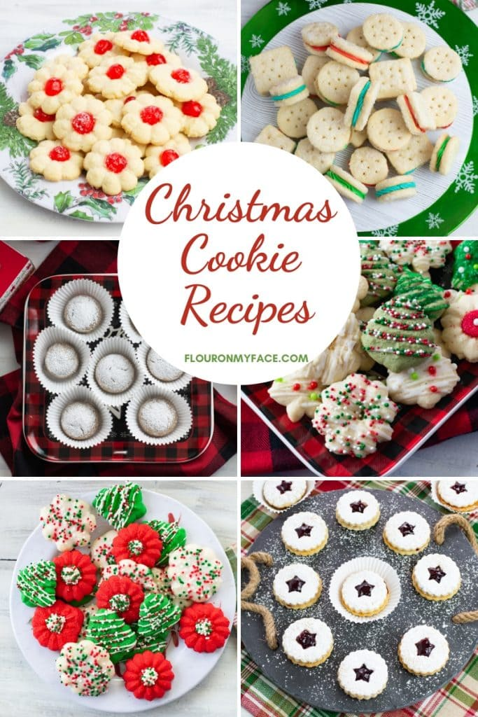 Collage Image of 6 different Christmas Cookie recipes