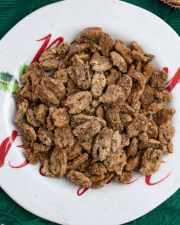 a plate of Cinnamon Vanilla Candied Nuts