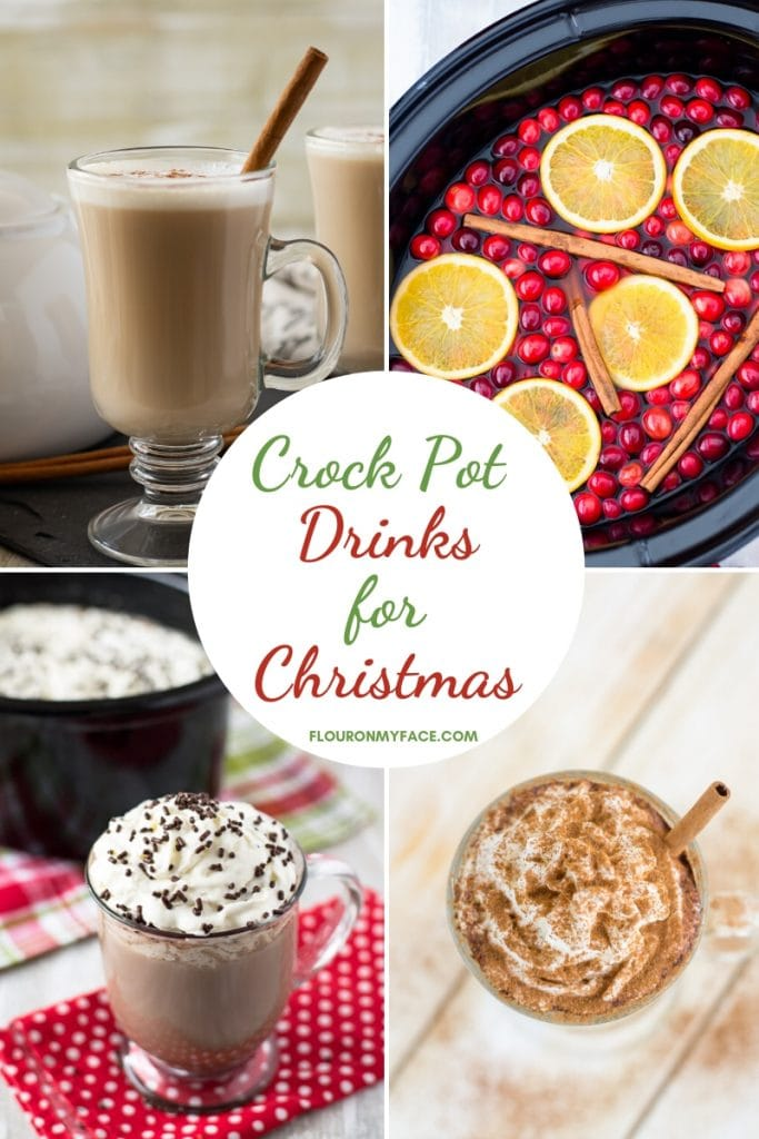 Collage photo showing  4 different Crock Pot Drinks for Christmas