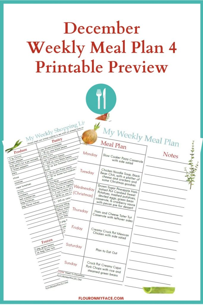 Preview image of the December Meal Plan Week 4 with printable menu plan and shopping list