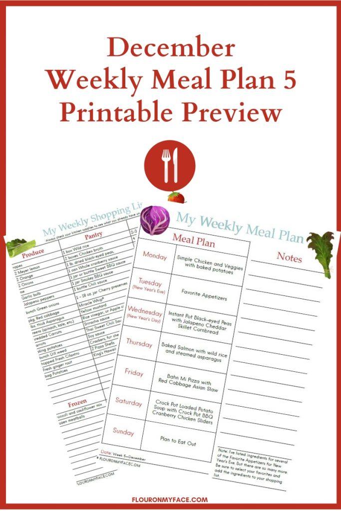 December Meal Plan Week 5 Printable Preview