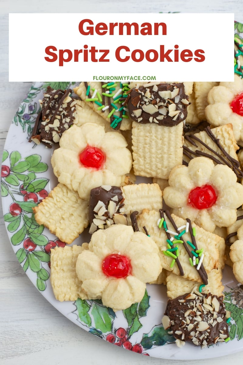 A cookie plate piled high with German Spritz cookies, also known as Butter cookies