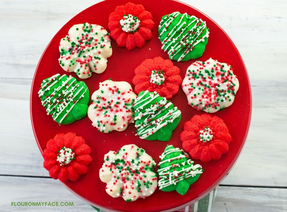 Decorated Spritz Cookies on a cake stand