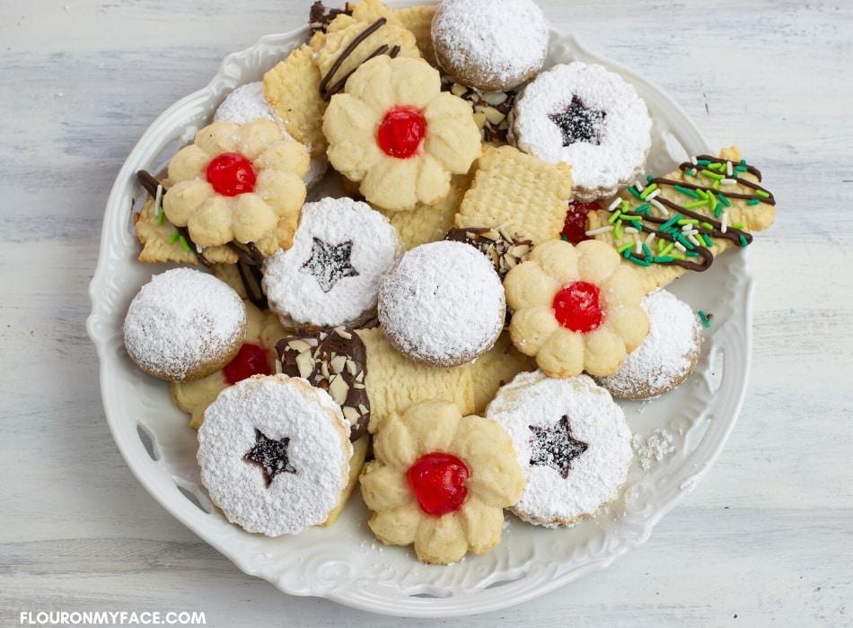 An assortment of homemade Christmas cookies on a serving platter