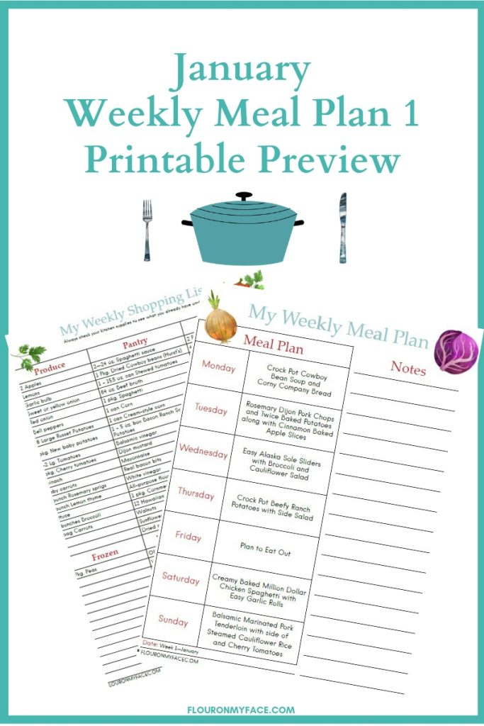 January Meal Plan Week 1 menu plan printables preview image