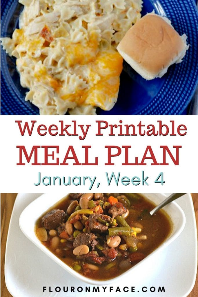Preview image for the January Meal Plan Week 4 with free printables