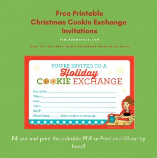 Preview of the free printable cookie exchange invitations