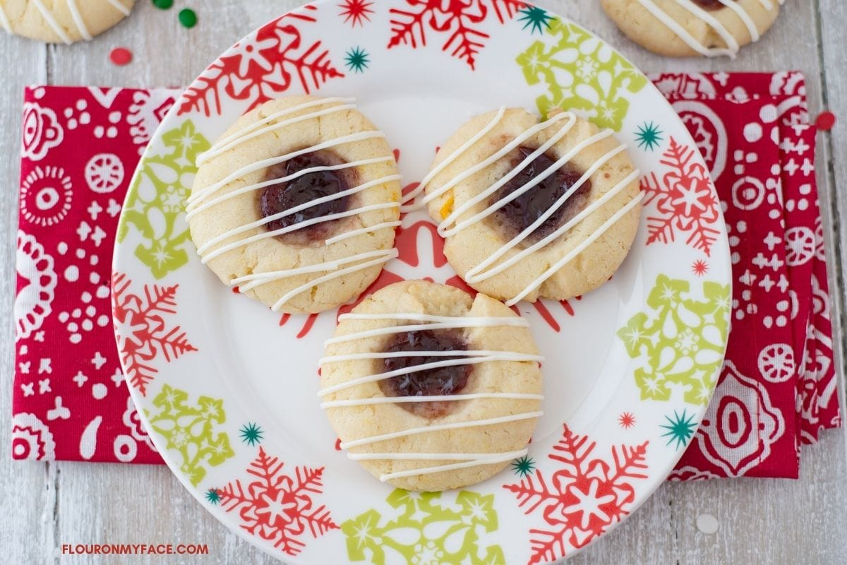 Raspberry Thumbprint Cookies on a plate.
