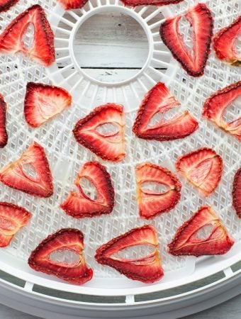 Overhead photo of dehydrated strawberries that have been sliced