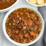 Instant Pot 15 Bean Soup with ground beef Recipe served with crackers