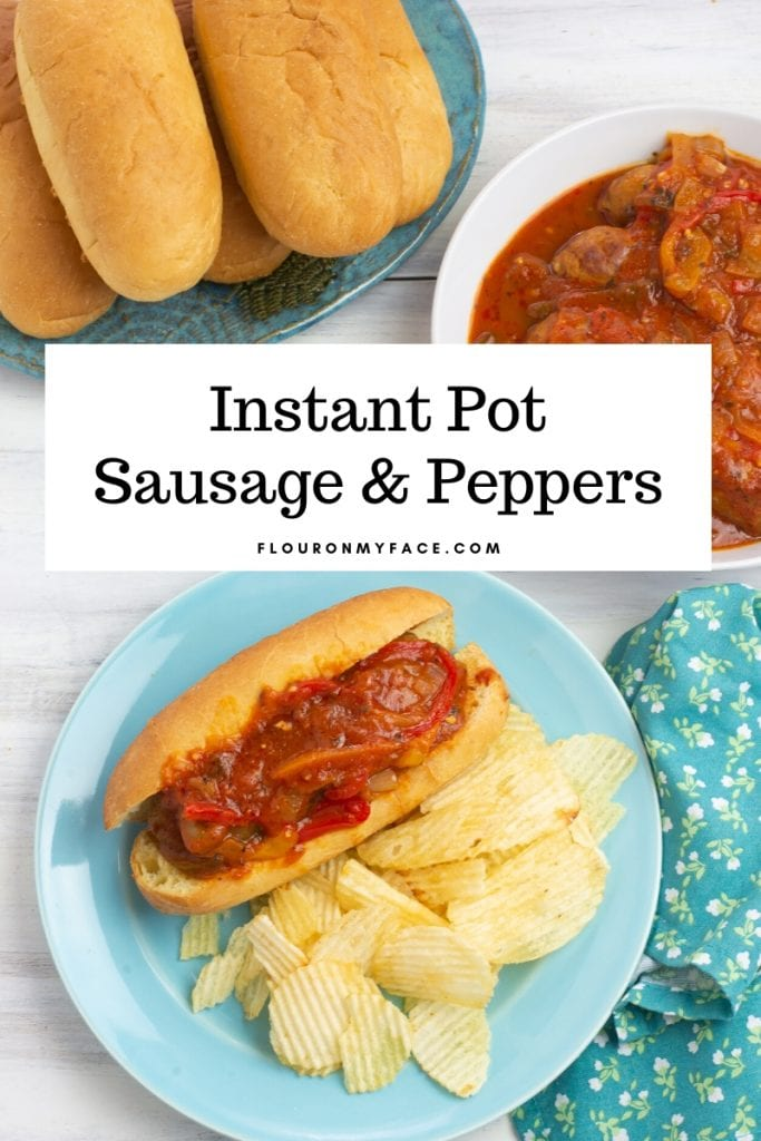 Instant Pot Sausage and Peppers on a sub roll served with chips on a blue plate and a cloth napkin.