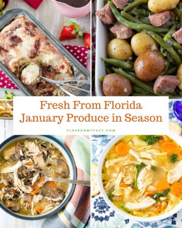 A list of January Fresh Florida Produce in season with the recipes you can make to use them.