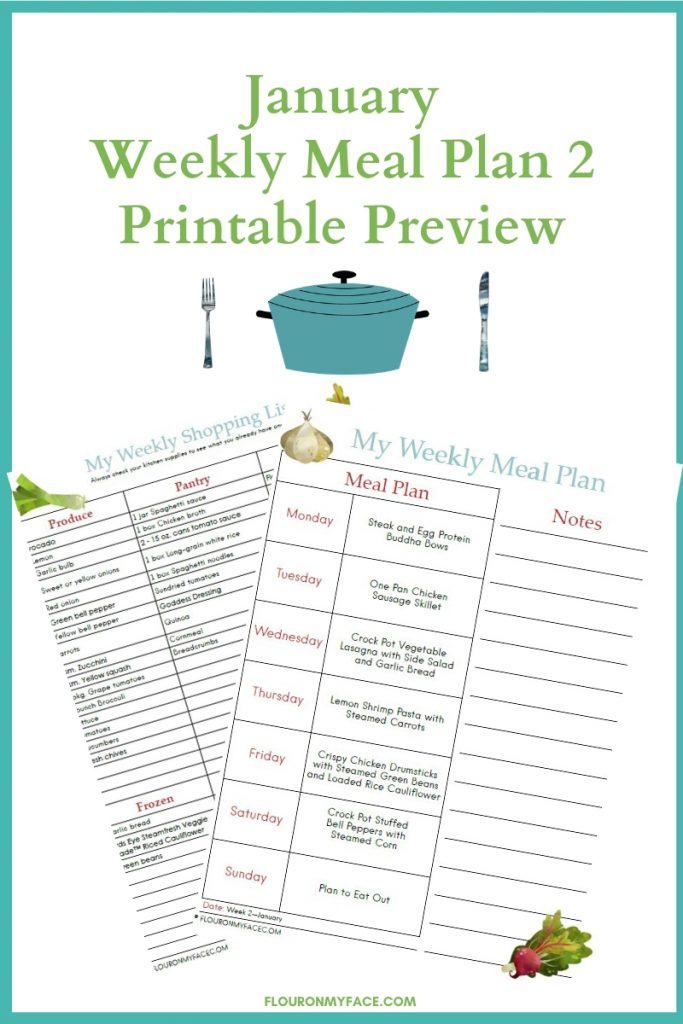 January Meal Plan Week 2 Printable preview meal plan and shopping list