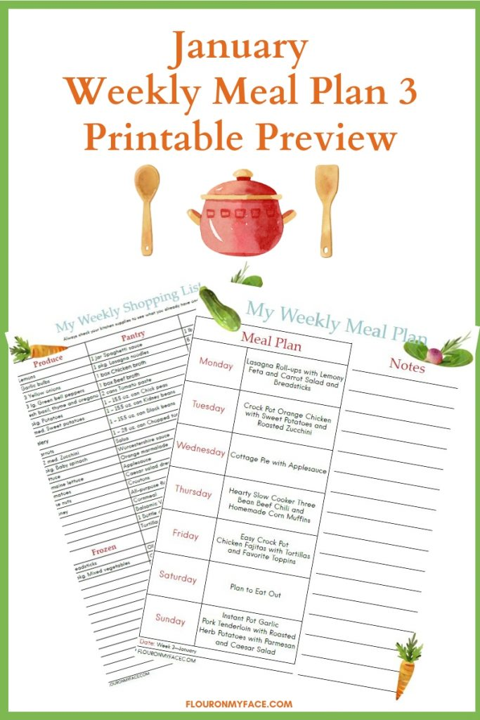 Preview image for the January Meal Plan Week 3 Printable menu plan and shopping list