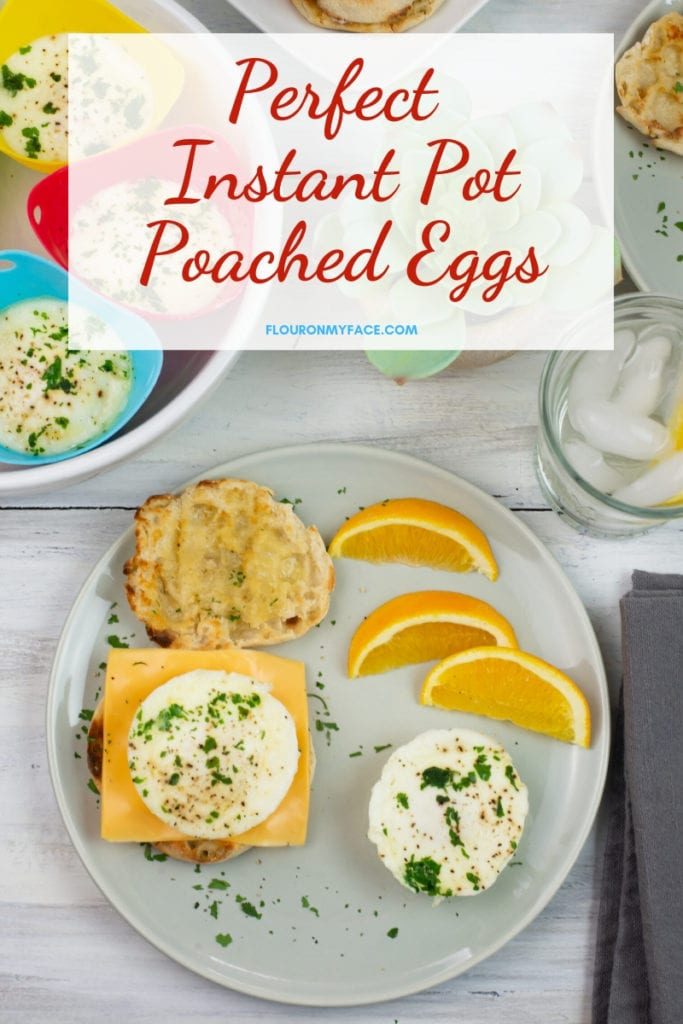 Overhead photo of a breakfast plate with super easy Instant Pot Poached Eggs served on an English Muffin and on the plate with the yolk broken.