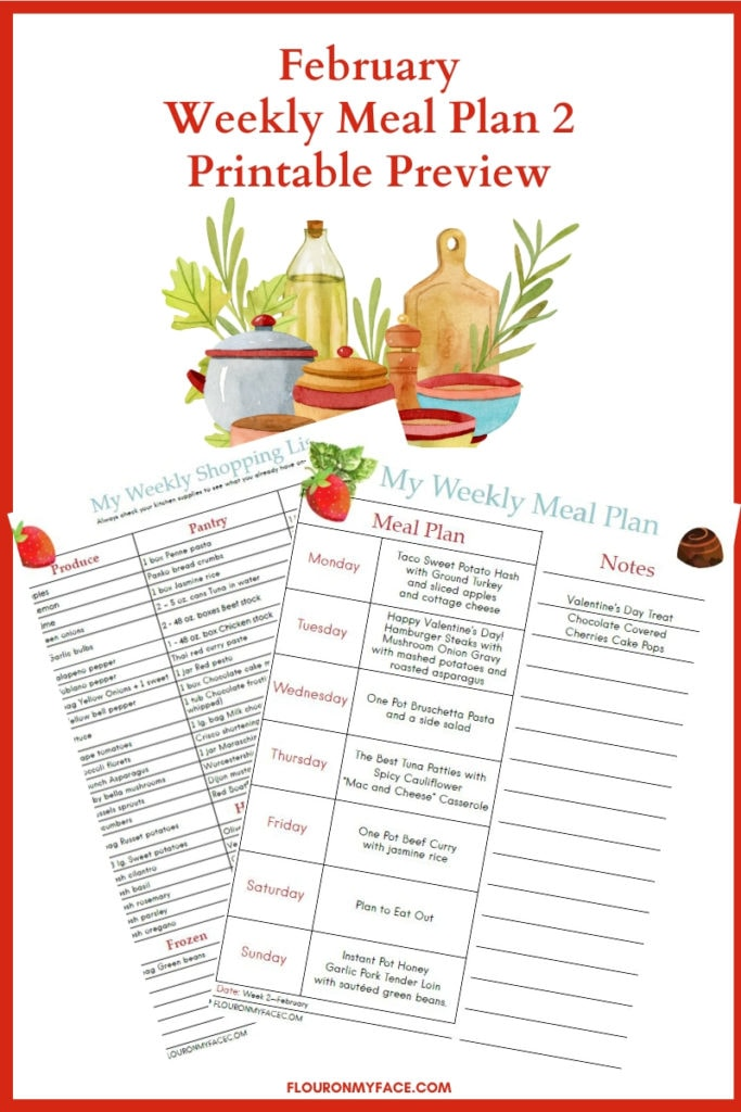 Preview image of the free February Meal Plan Week 2 menu plan and shopping list