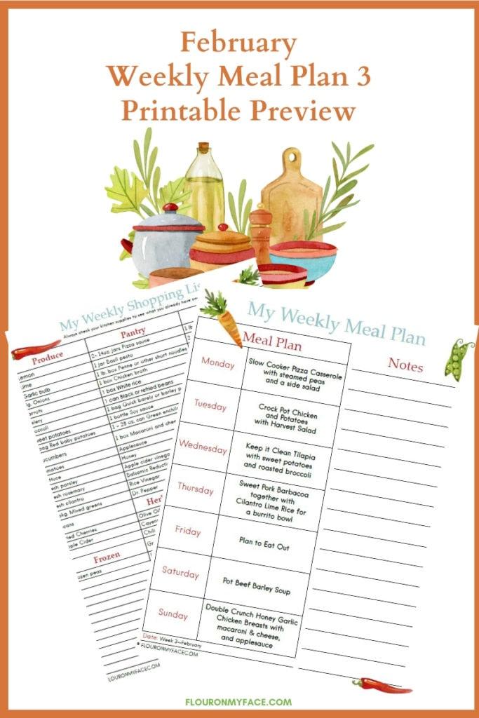 February Meal Plan Week 3 Printables