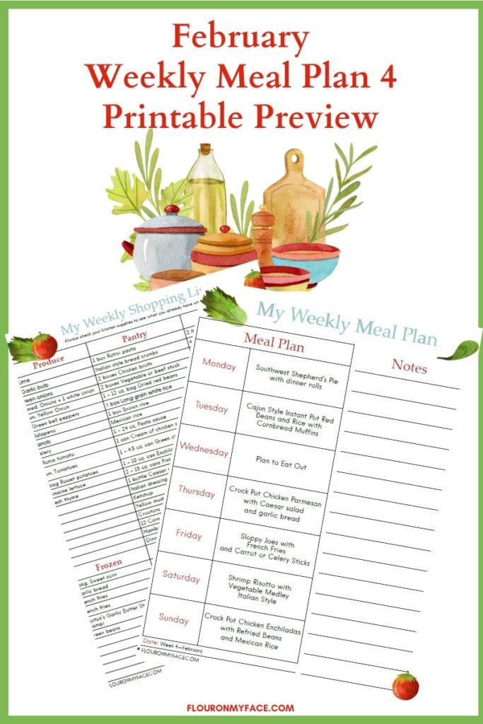 February Meal Plan 4 Printable Menu Plan & Shopping List
