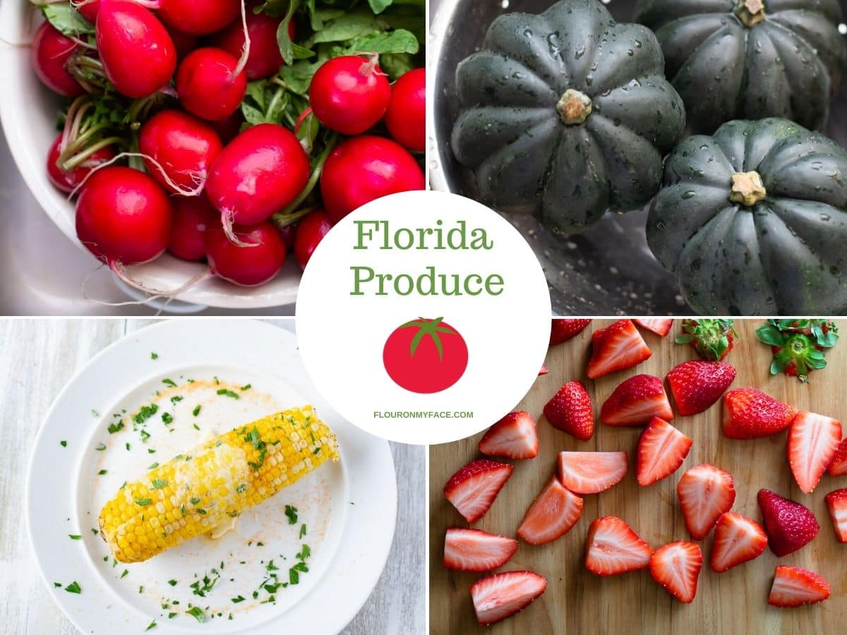 Collage of four types of February  produce.