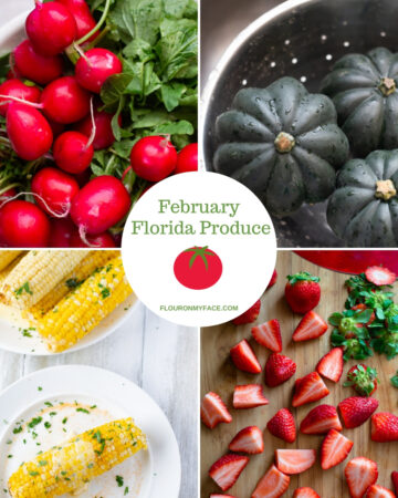 collage featured image showing some of the fruits and vegetables that are grown in Florida and available during the month of February