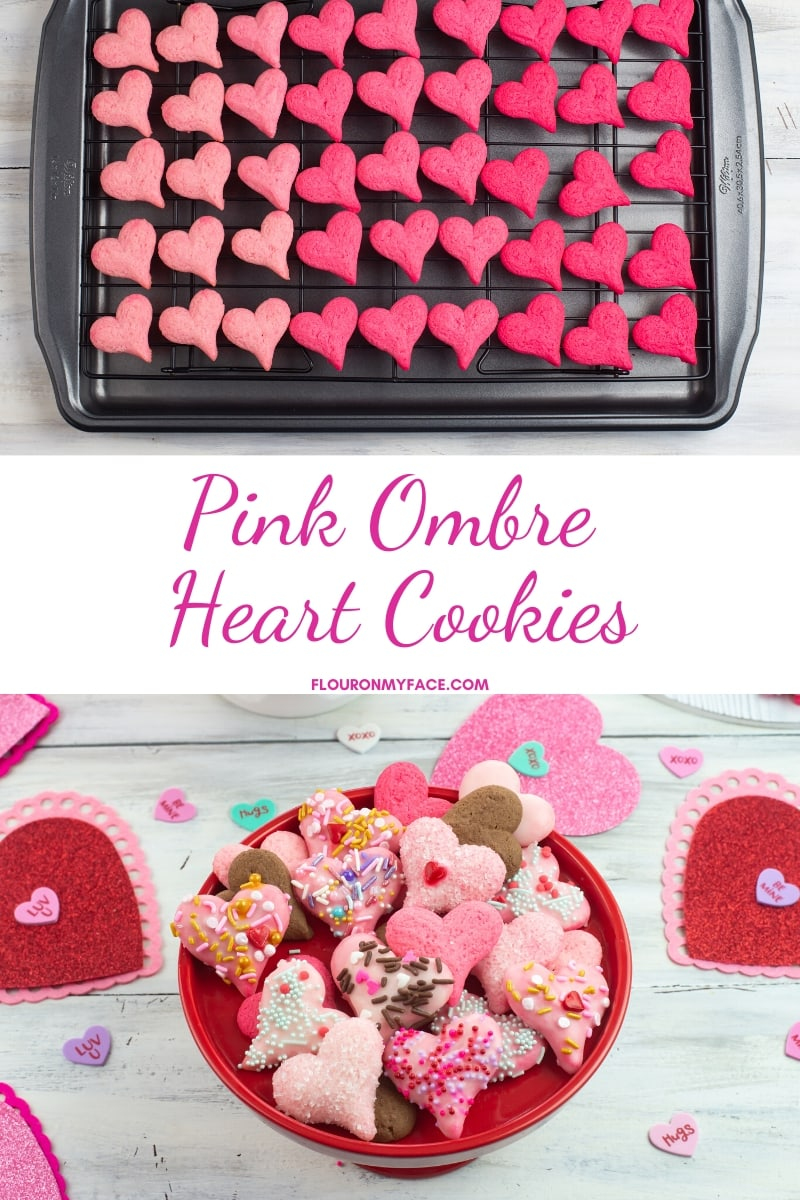 Photo of undecorated pink ombre heart cookies with another photo of the ombre cookies decorated for Valentines Day