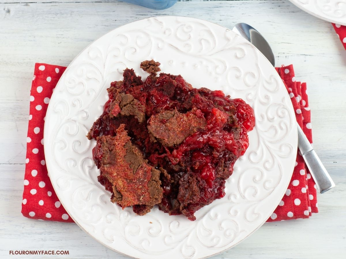 A serving of dump cake on a plate.