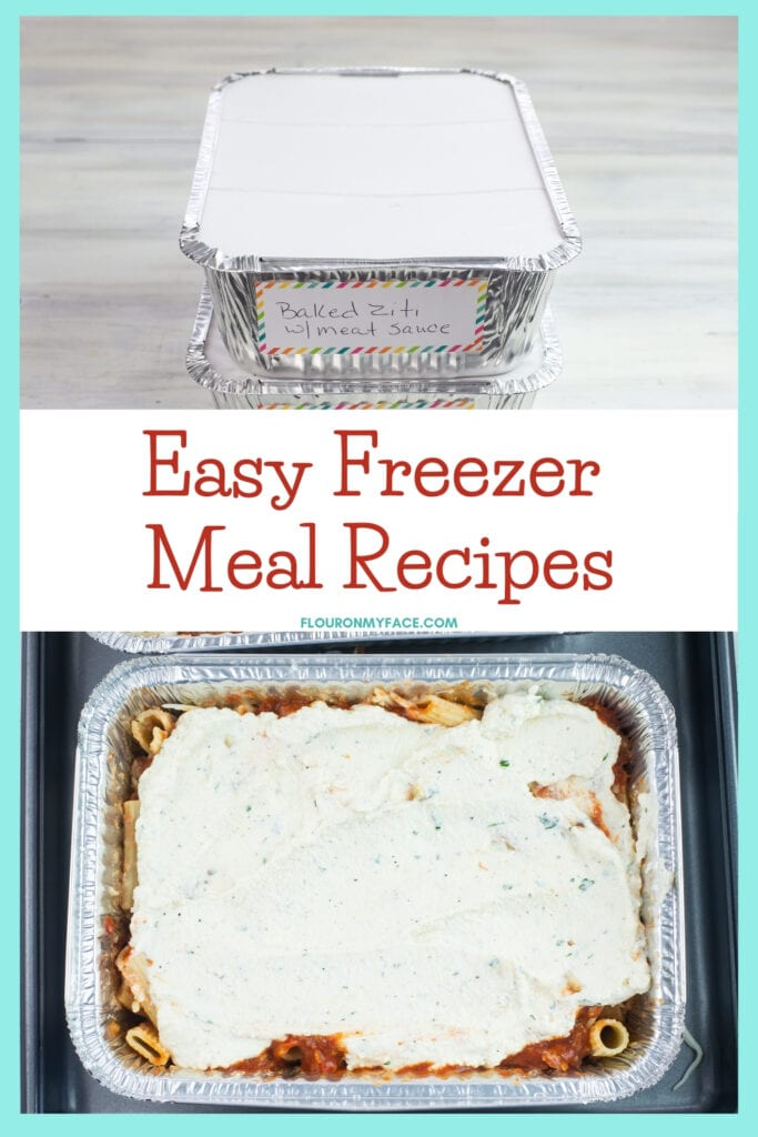assembled baked ziti in a food storage aluminum tray