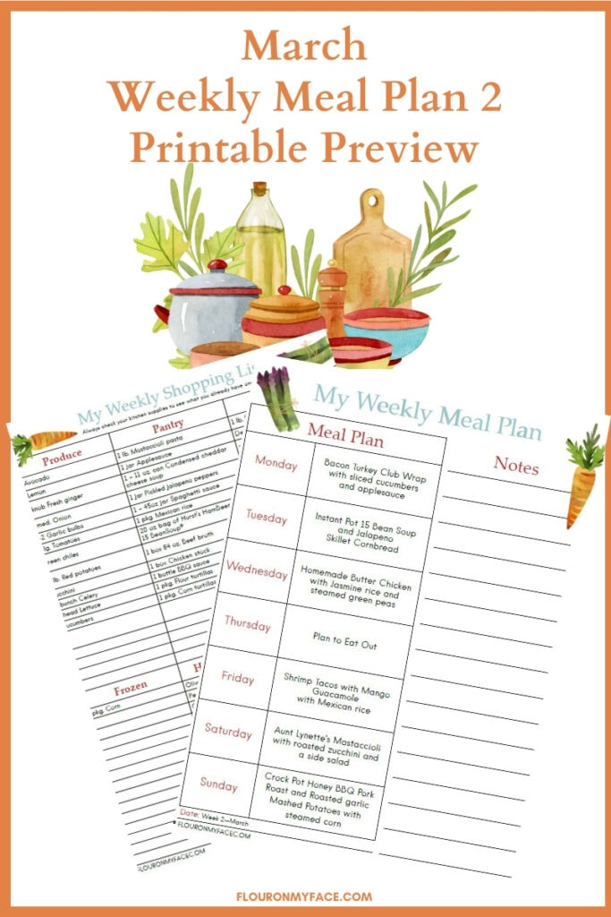 Weekly Meal Plan Printable Preview