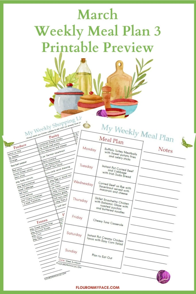 March Weekly Meal Plan 3 printable preview