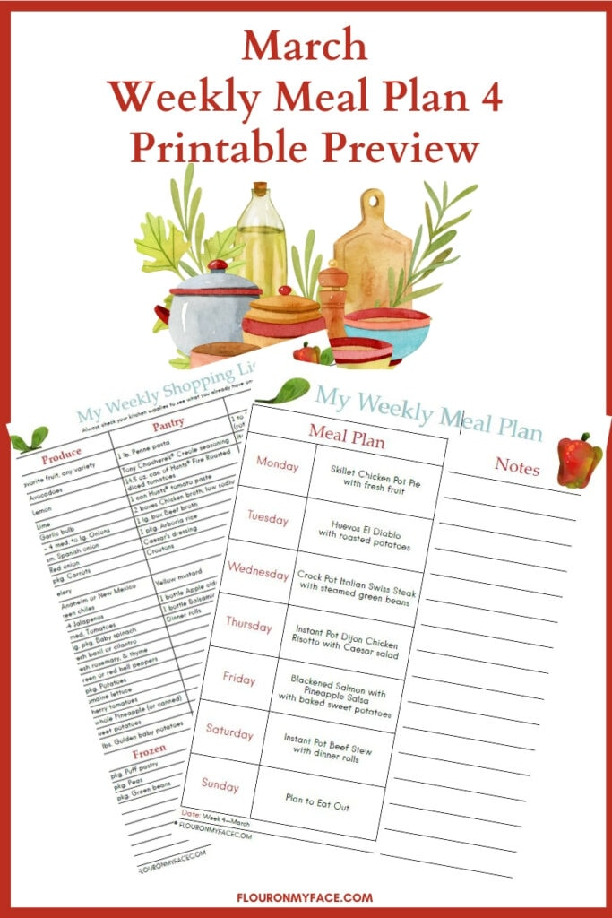 March Meal Plan 4 preview image for printables