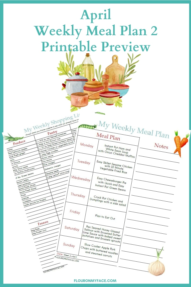 April Meal Plan Week 2 printable menu and shopping list preview