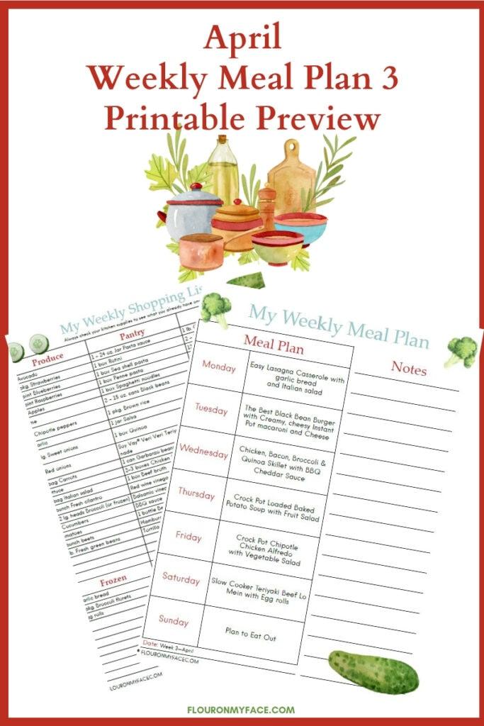 April Meal Plan Week 3 Printable Previews