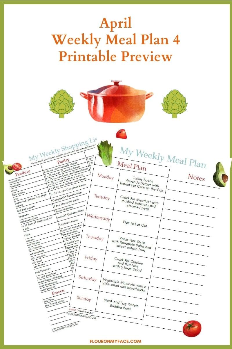 April Meal Plan 4 Printable Preview