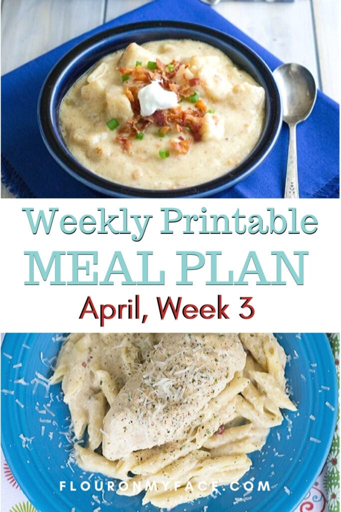 April Meal Plan Week 3 preview image of menu planning recipes