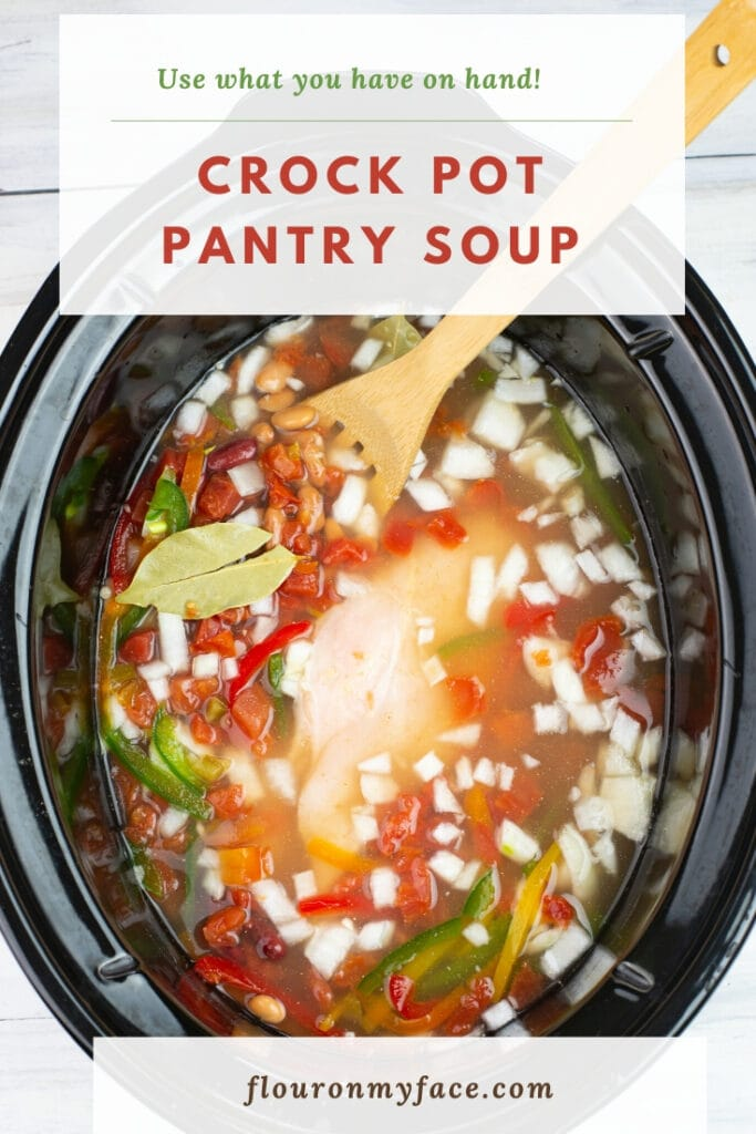 Pantry Soup recipe in a crock pot before slow cooking