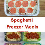 pasta and sauce in glass meal prep containers